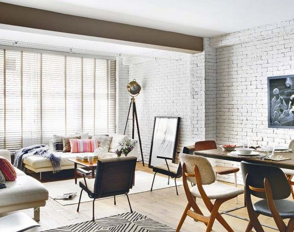 White Brick Wall Living Spaces with Vintage Furniture Diseño - diseos de interiores paredes