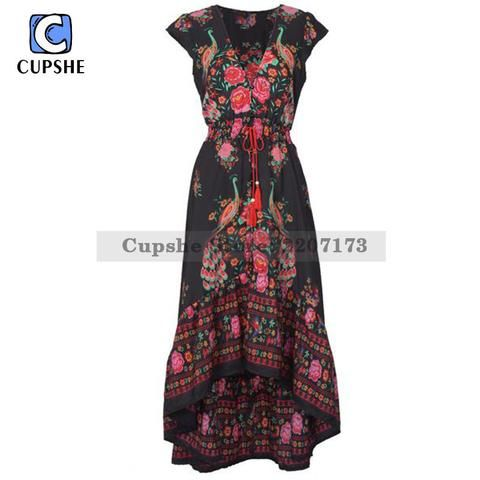 Cupshe Fashion Women Vintage Printing Plunging Maxi Dress Boho Deep V Neck Short Sleeve Floral Gown Sexy Party Evening Robe