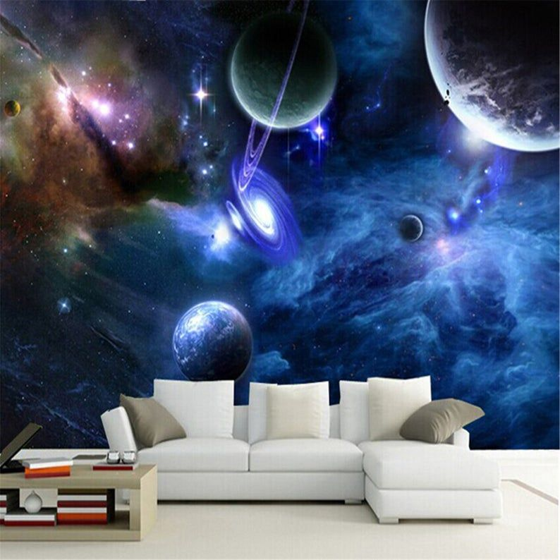 3d Murals Galaxy Fluorescent Photo Wallpapers Moisture Home Decor Wall Paper Roll Living Room Bedroom Wallpaper Landscape In 2021 Space Themed Bedroom Wallpaper Bedroom Bedroom Themes