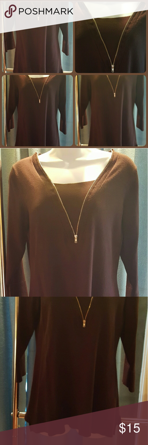 Sweater Gorgeous Brown Sweater with Designed Zipper in the front that gives it the illusion of a tank underneath. Mid length Sleeves. Size Large. Very good condition. Carolyn Taylor Sweaters V-Necks