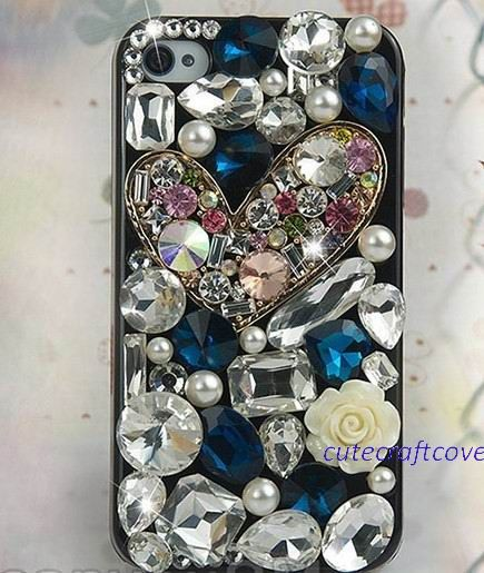 cute Samsung galaxy s3 cover case blue clean diamond heart iPhone 5 case unique iPhone covers iphone5 bling cass iPhone4s iPhone 5 cover
