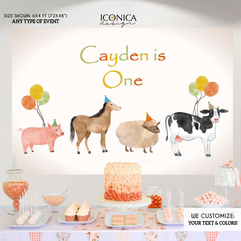 Farm Animals Watercolor Birthday Banner Party Decoration Backdrop