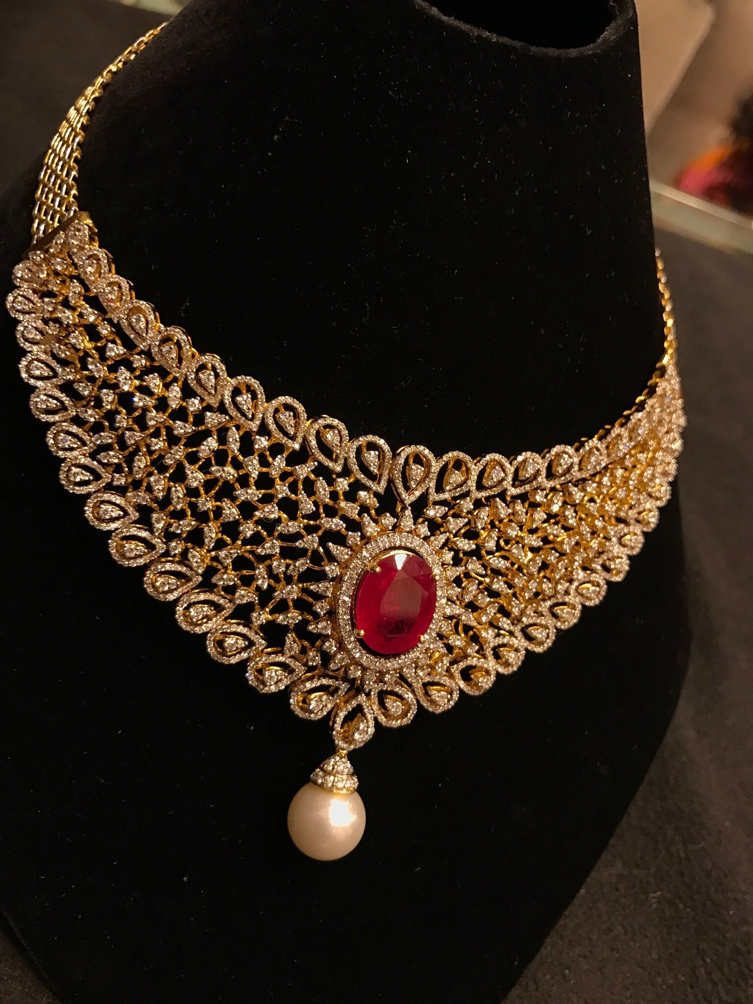 studded necklaces necklace demo type cubic of sat zirconia nithyakalyani bridal jewellery