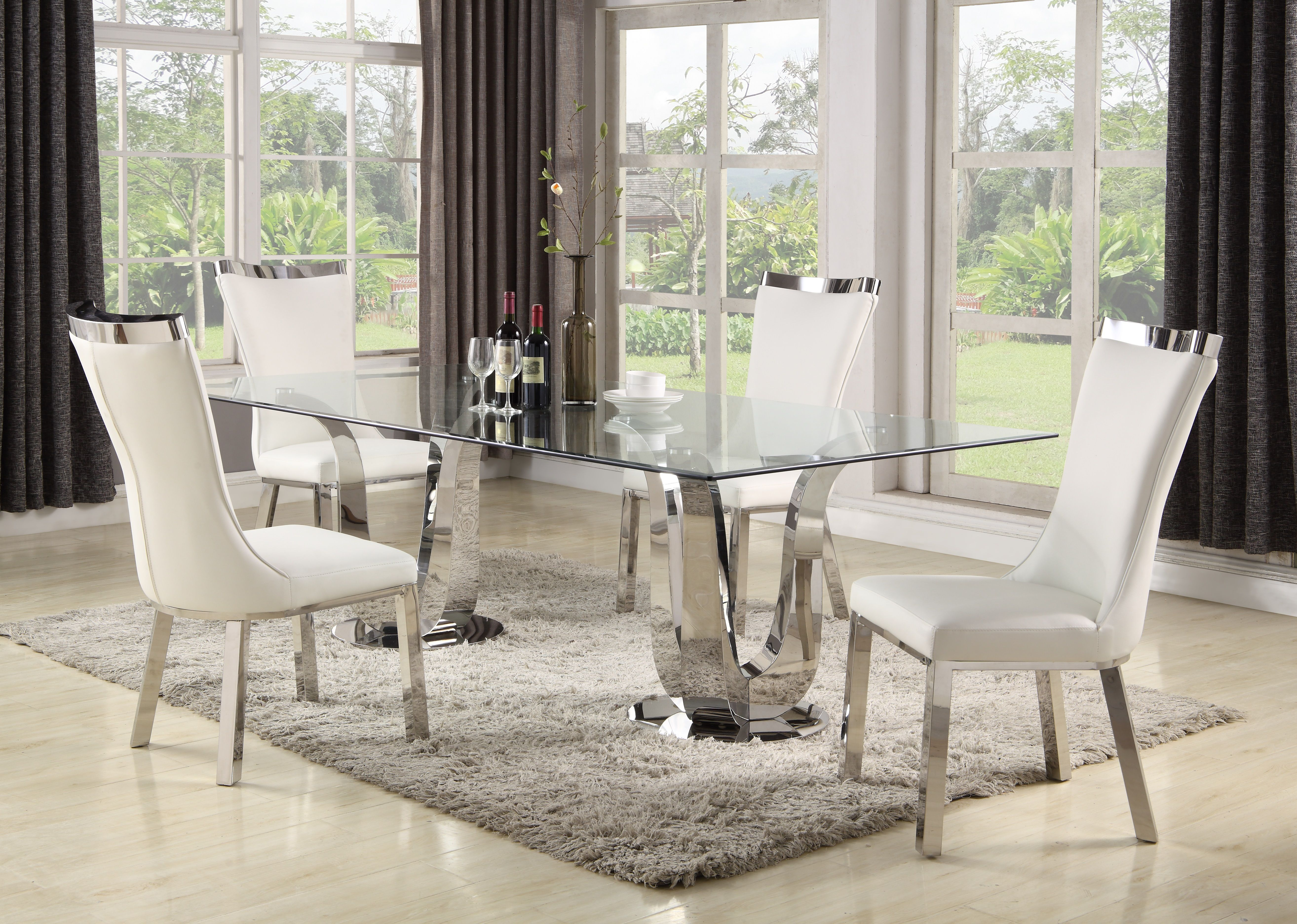 This Contemporary Rectangular Dining Set Adds Elegance To Any