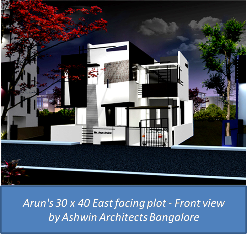 Home Design Ideas Bangalore: 3D Front Elevation View Of Arun's House In Bangalore
