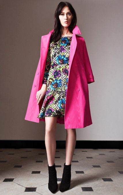 Just keepin it funky retro dress with pink fierce blazer with black shoe boots ......you beta work