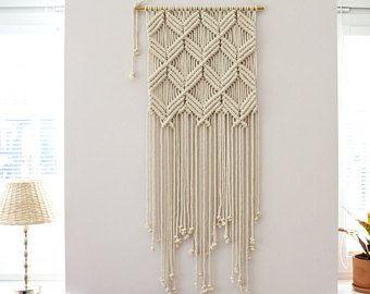 Macrame grande colgando de la pared, arte de la pared, tejido Macrame colgante, Boho cuadros, tapices de pared, Macrame moderno, decoración de la pared de Macrame