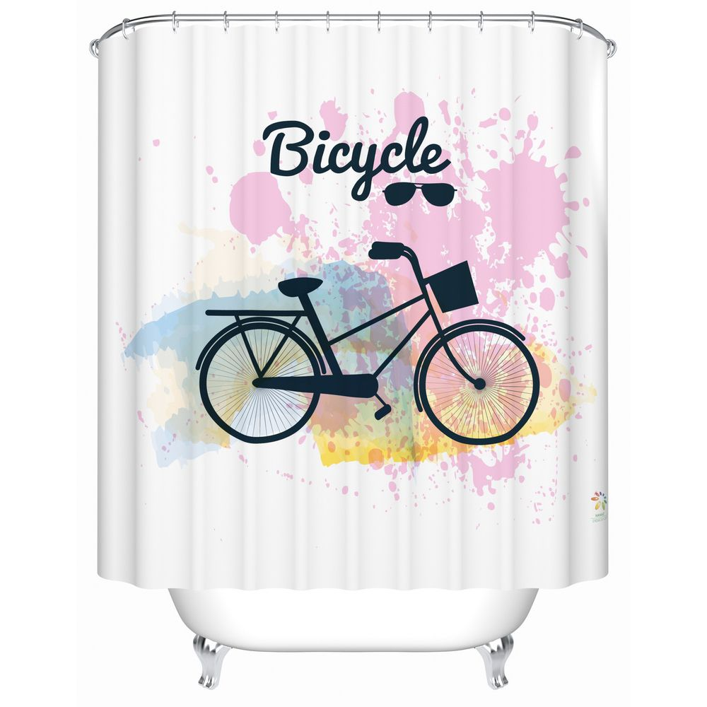 Travel With Bicycle Shower Curtain Monarchy Co Bicycle Art Curtains Shower Curtain