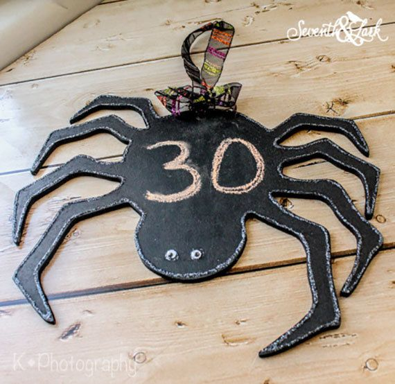 DIY Create your own Spider Chalkboard Halloween by SeventhAndLark - create halloween decorations