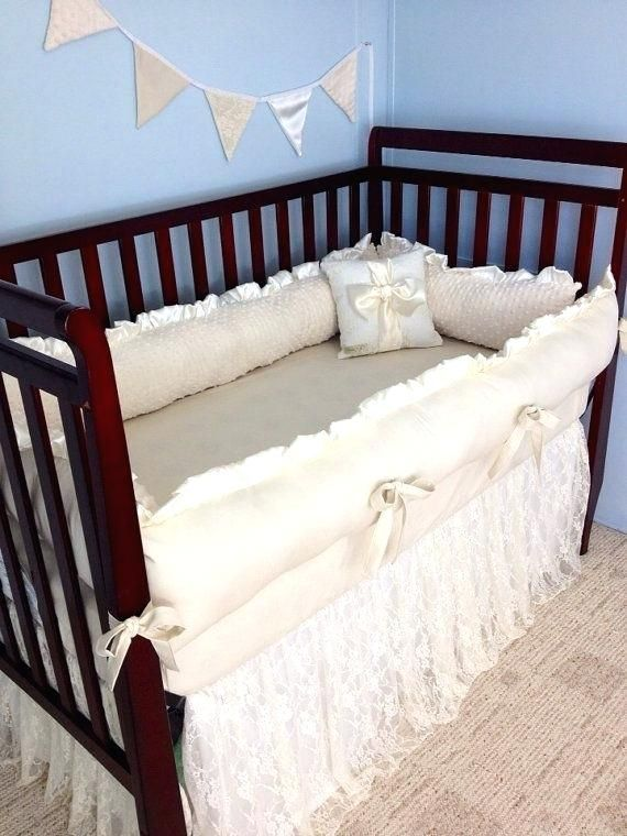 Baby Bedding Crib Ivory Lace And Cotton Clearance