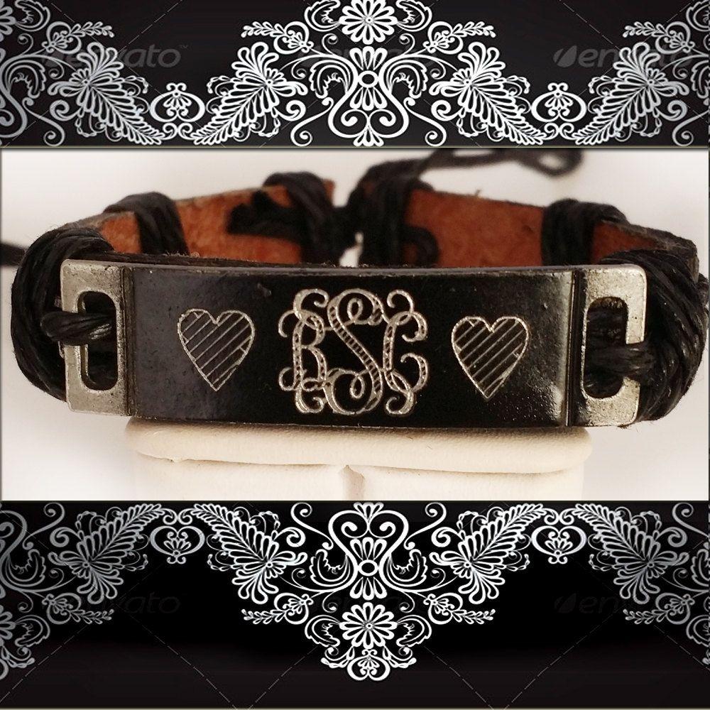 Personalized Name Leather Bracelet,Personalized Monogrammed Bracelet,Name Personalized Leather Bracelet,Monogrammed Bracelet by newyorkcustomermake on Etsy