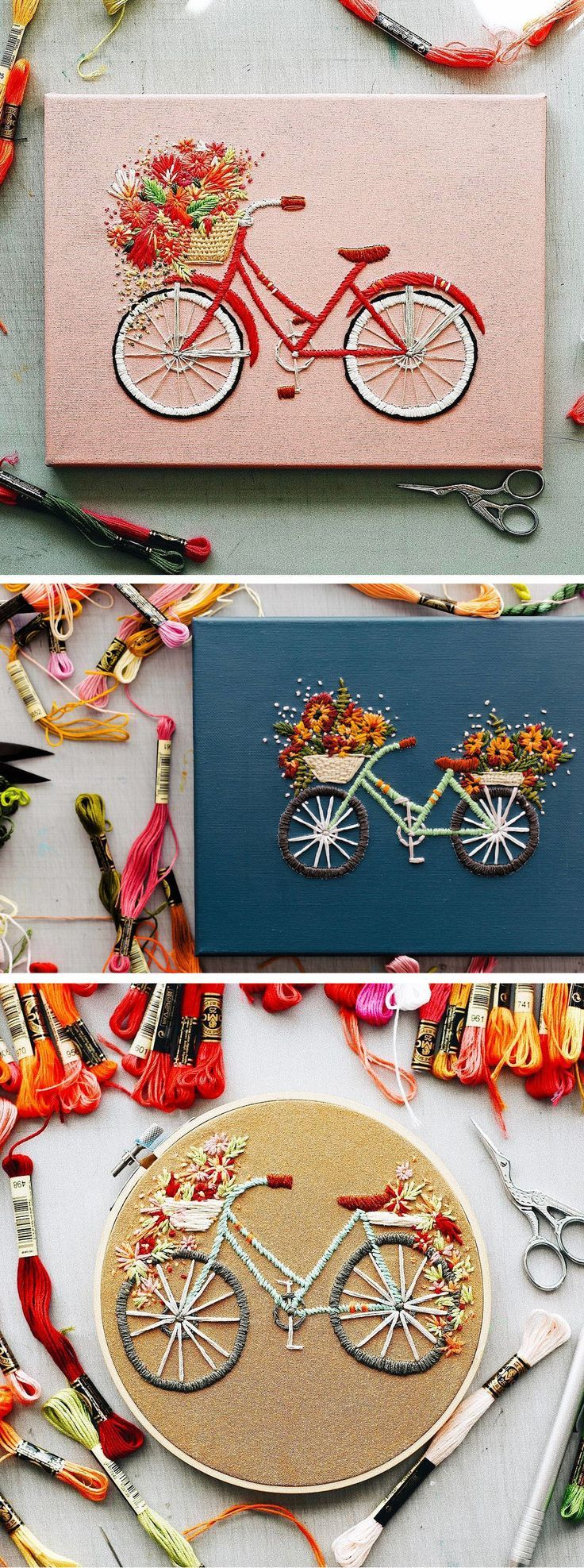 Charming Bicycle Embroidery Have Beautiful Blooms Spilling From Baskets