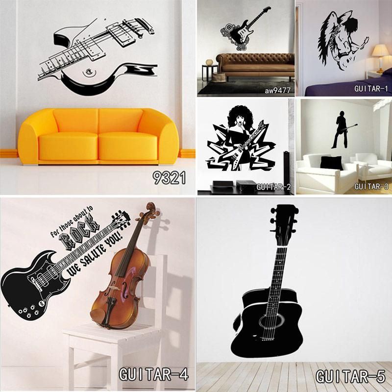 Creative Art Guitar Wall Stickers Home Decor DIY Musical Instrument Home Decorations Rock Music Wall Decals Living Room images