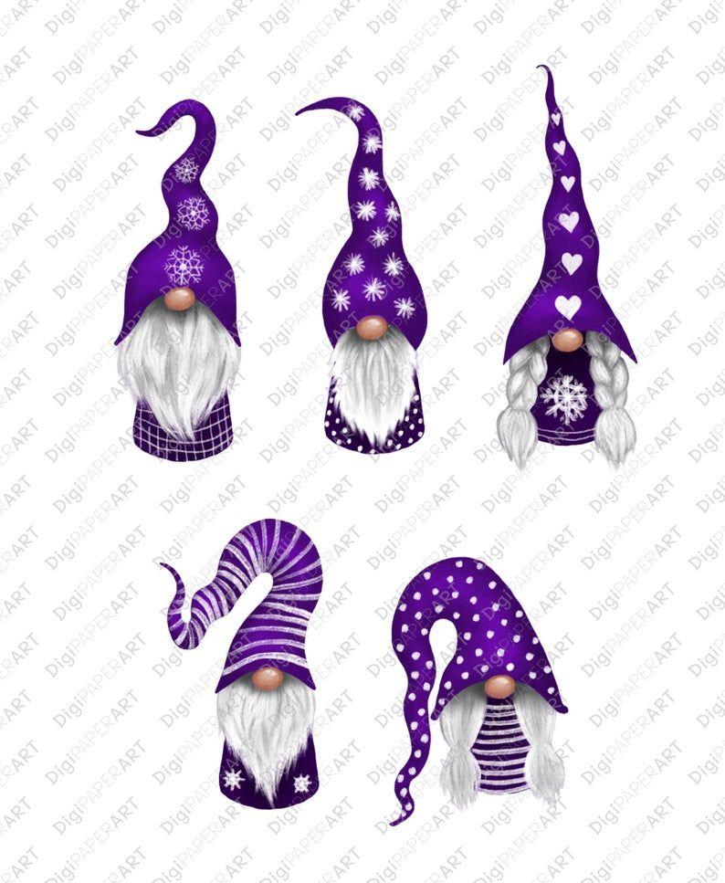 Christmas Gnomes Clipart, Scandinavian Gnome Clipart, Purple Nordic Gnomes Clip Art, Nisse Tomte, Graphic Decoration, PNG Design Elements