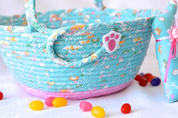 Blue easter basket and 1 cute easter bunny handmade girl easter blue easter basket and 1 cute easter bunny handmade girl easter bucket wexfordtreasures basket negle Image collections