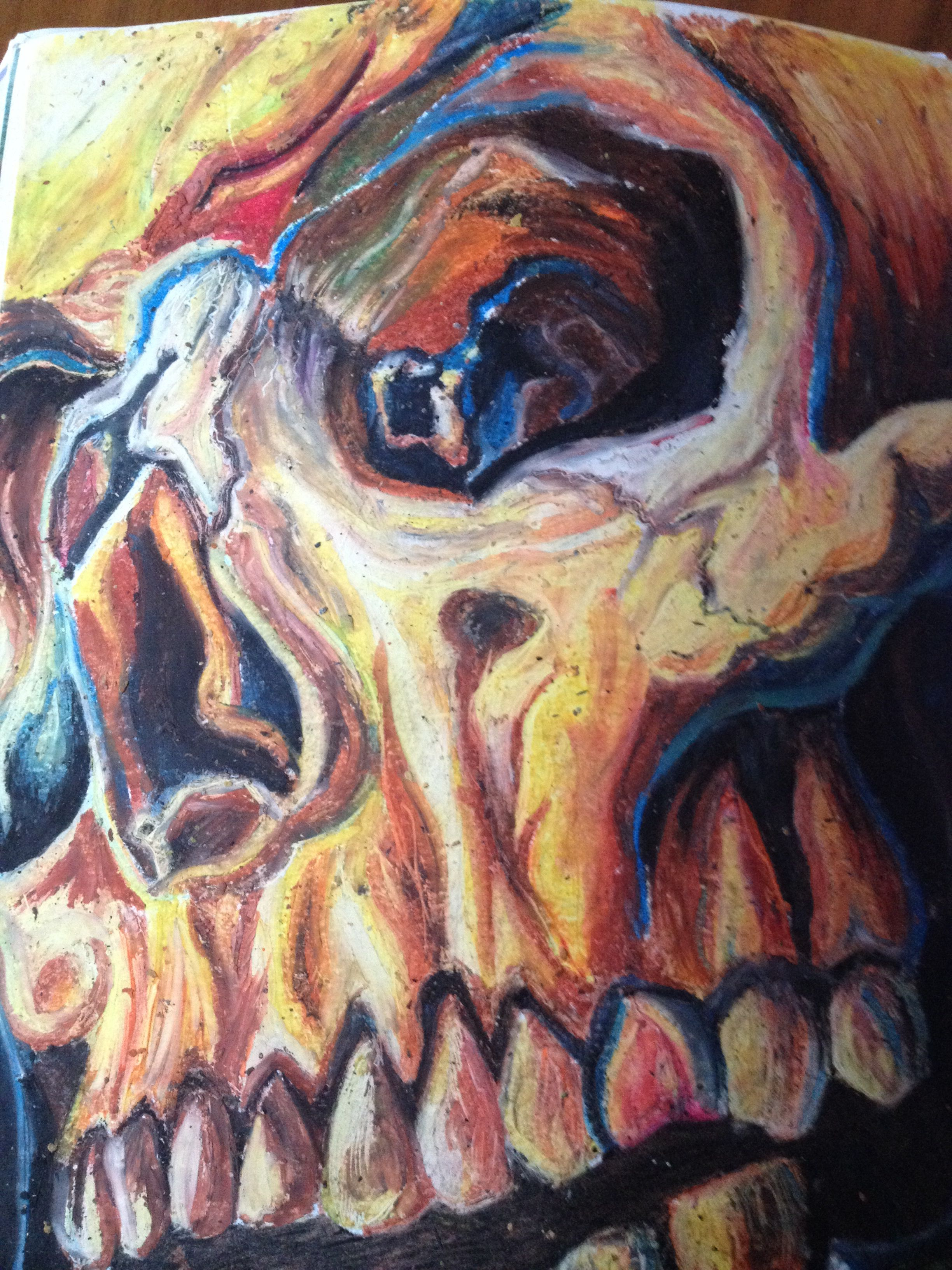 Oil pastel of a skull by shahban haque
