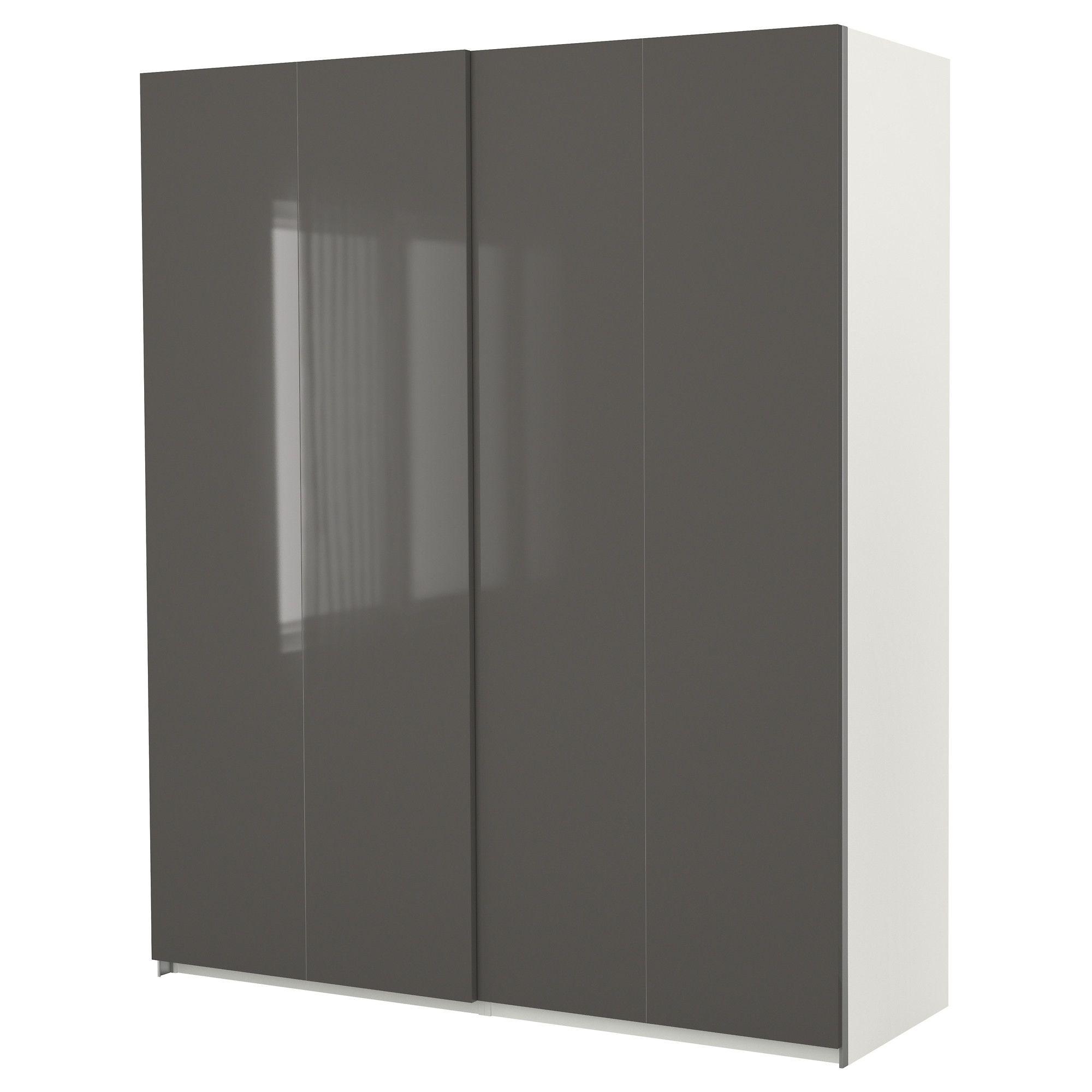 Pax armario con puertas correderas blanco hasvik alto for Armario blanco puertas correderas ikea