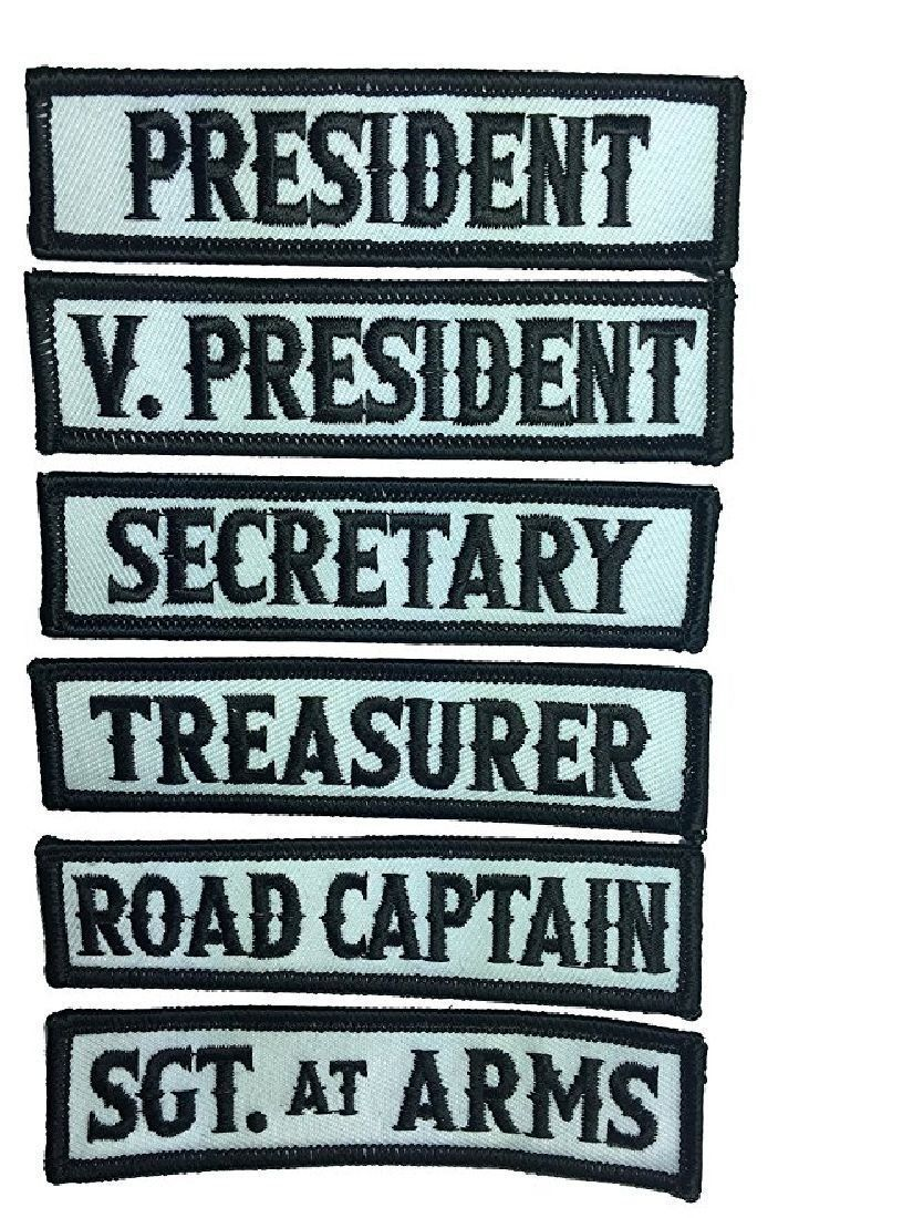 Officer Title Rank Vest Patches President Vp Mc Biker Club Patch 6pc Iron On Motorcycle Clubs Biker Clubs Biker Quotes