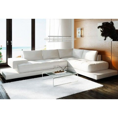Tosh Furniture Contemporary White Bonded Leather Sectional Sofa - RSF | Modern Furniture Warehouse