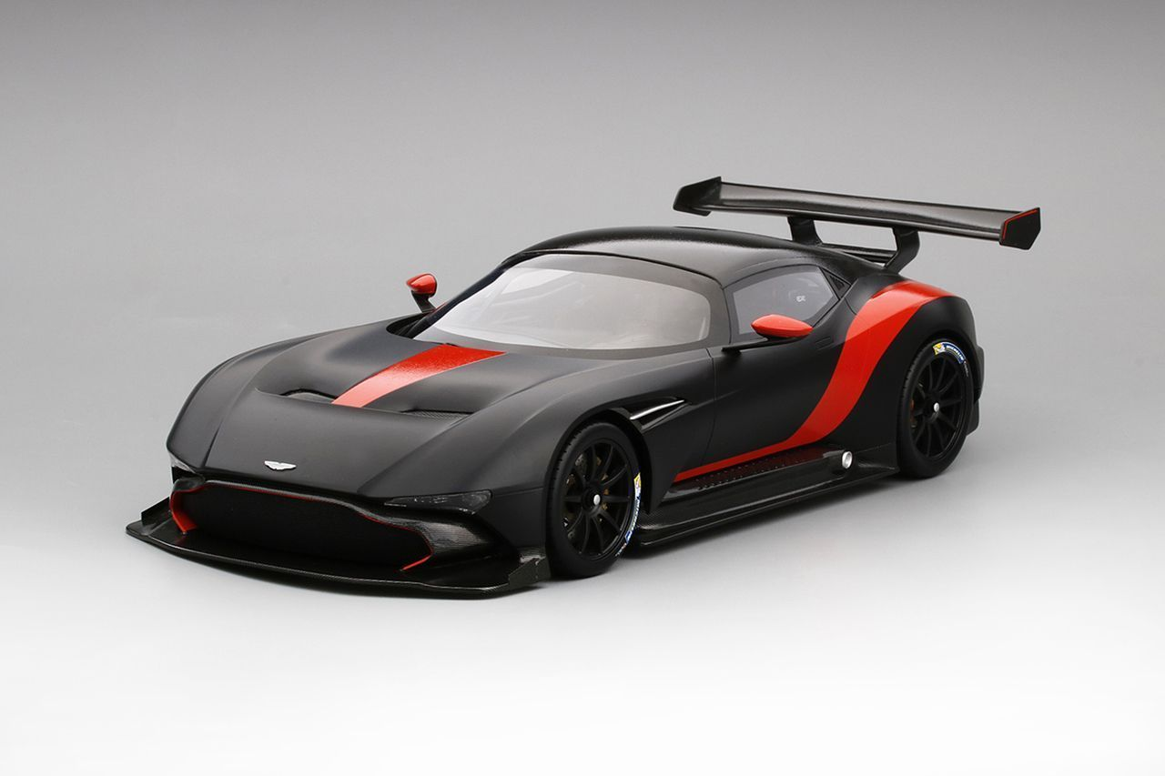 Aston Martin Vulcan Matte Black With Red Stripes Limited Edition To 999 Pieces 1 18 Model Car By Top Speed Astonmar Aston Martin Vulcan Aston Martin Car Model