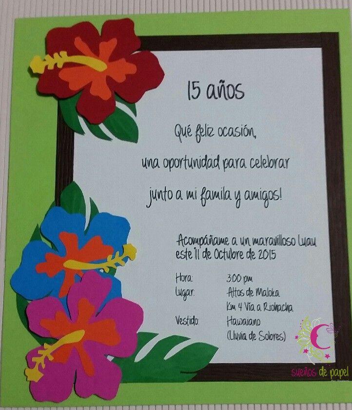 Tarjeta Quince Años Motivo Fiesta Hawaiana Fiesta