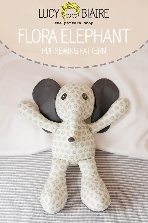 Flora Elephant Stuffed Animal Pattern - via @Craftsy | Peluches ...