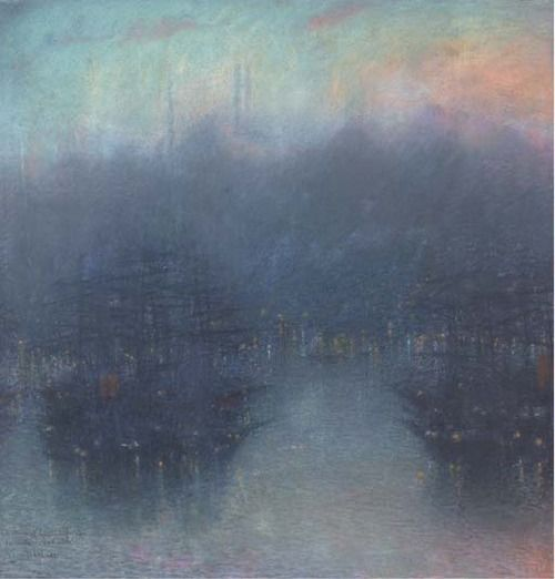 Lucien Lévy-Dhurmer (French, 1865-1953), Constantinople. Pastel on paper, 25½ x 25 in. (64.8 x 63.5cm.)