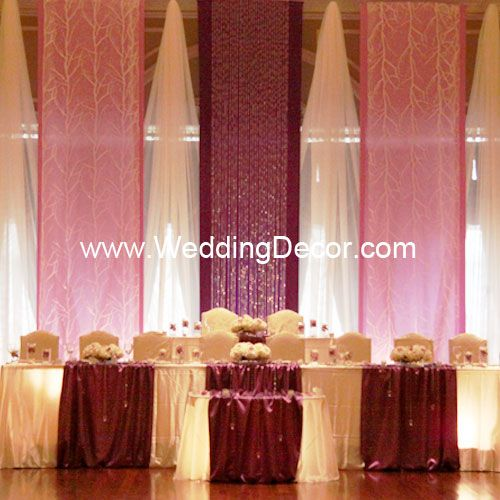 Wedding Backdrop Flat Purple And Lavender Panels With Tree Fabric Crystal Accents