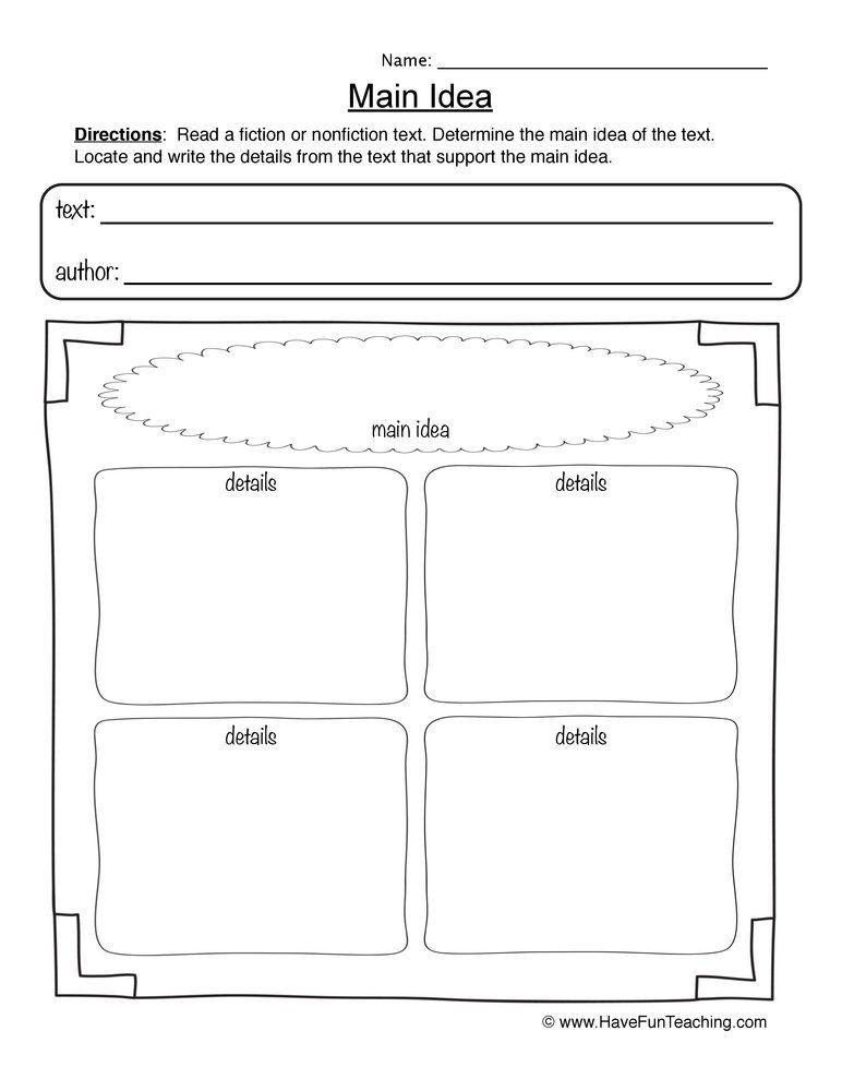 Main Idea Worksheet in 2020   Main idea worksheet, Have ...