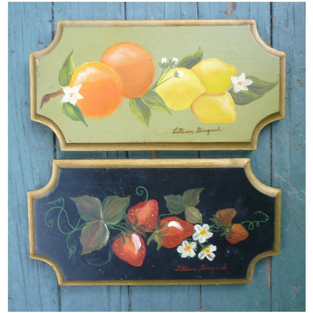 Pair Hand Painted Tole Style Fruit Plaques Signed Art Paintings