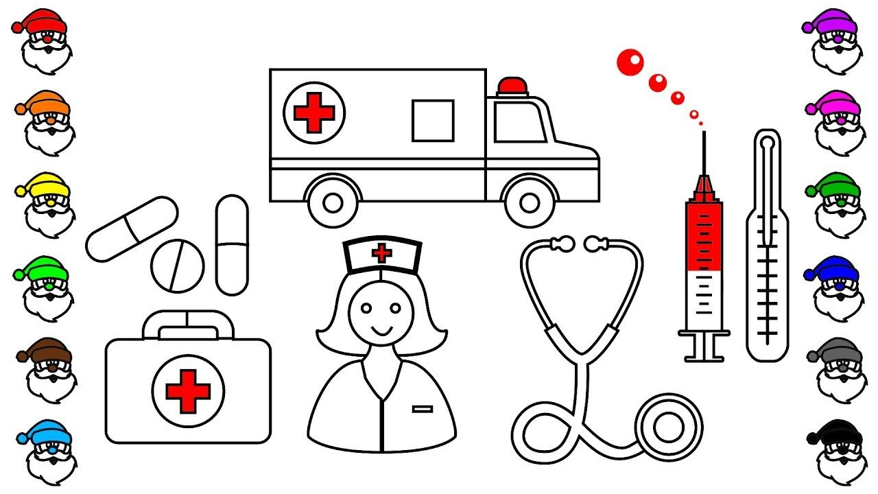 Learn colors with car coloring pages, ambulance and medical icons ...