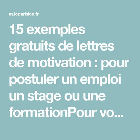 15 Exemples Gratuits De Lettres De Motivation : Pour