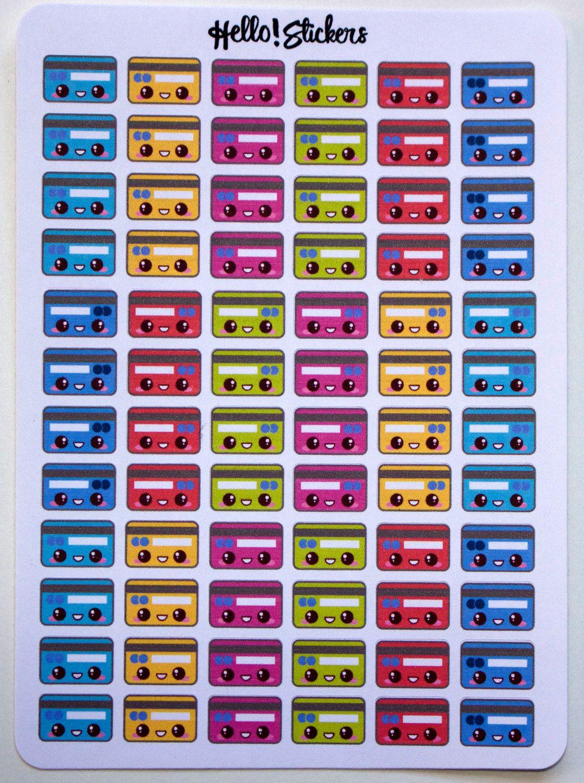 Kawaii Colorful Credit Card Stickers!Finance, Bills Due Stickers, Erin Condren, Plum Planner, Happy Planner, Bill Reminder, Planner Stickers by hellostickers on Etsy