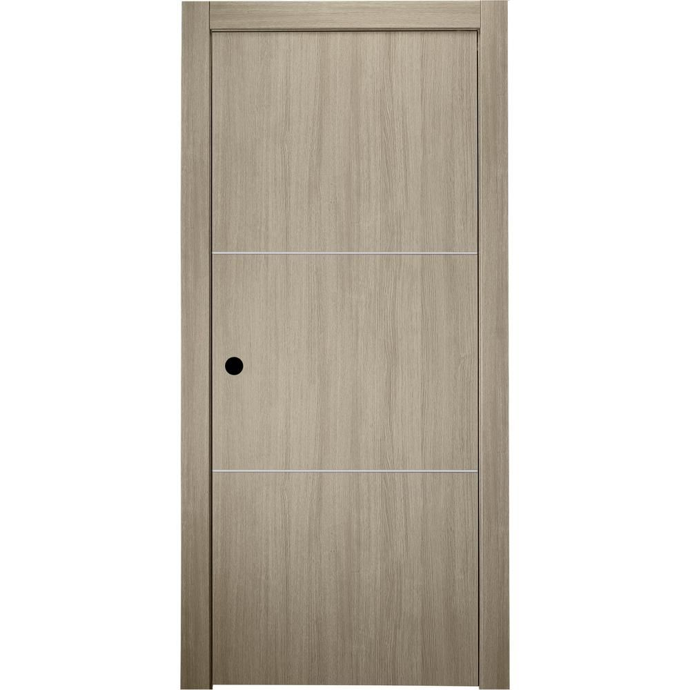 Belldinni 30 In X 80 In Viola 2h Shambor Finished Aluminum Strips Left Hand Solid Core Composite Single Prehung Interior Door Prehung Interior Doors Wooden Textures Prehung Doors