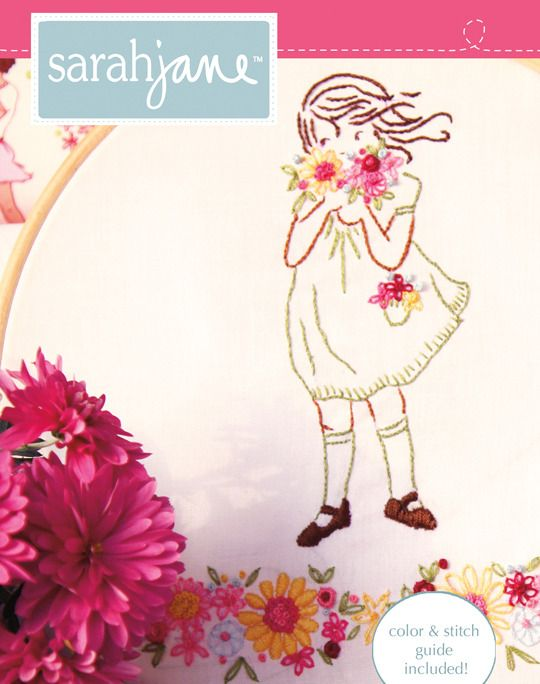 Summer Flower Girl, Embroidery Pattern by Sarajane
