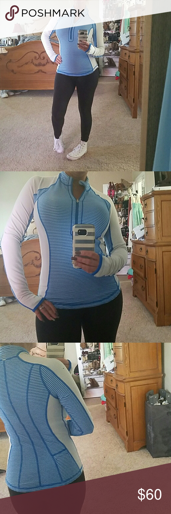 Lululemon Excellent condition very comfortable blue and white lululemon athletica Tops Sweatshirts & Hoodies
