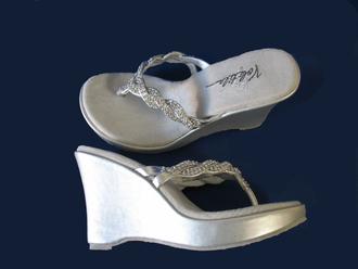 bae2c200abec 4 Inch Silver Platform Bridal Flip Flops with Rhinestone Straps ...