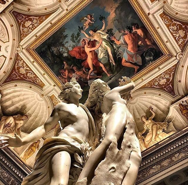 """""""Apollo and Daphne"""" by Bernini at Galleria Borghese (pic by @vittoria.sichetti via @museitaliani ) - This is a life-sized Baroque marble #sculpture by Italian artist Gian Lorenzo Bernini executed between 1622 and 1625. Housed in @galleriaborgheseufficiale in Rome the work depicts the climax of the story of Daphne and Phoebus in Ovid's Metamorphoses #art #italy #artcourse #studyabroad #arte #italia #scultura #escultura #studiainitalia #cursodearte #bernini #love #valentines #sanvalentino #cupid"""