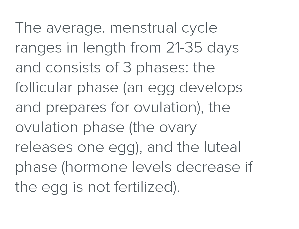 The average. menstrual cycle ranges in length from 21-35 days and consists of 3 phases: the follicular phase (an egg develops and prepares for ovulation), the ovulation phase (the ovary releases one egg), and the luteal phase (hormone levels decrease if the egg is not fertilized).