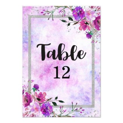 Purple Floral & Silver Frame Wedding Table Numbers | Wedding tables ...