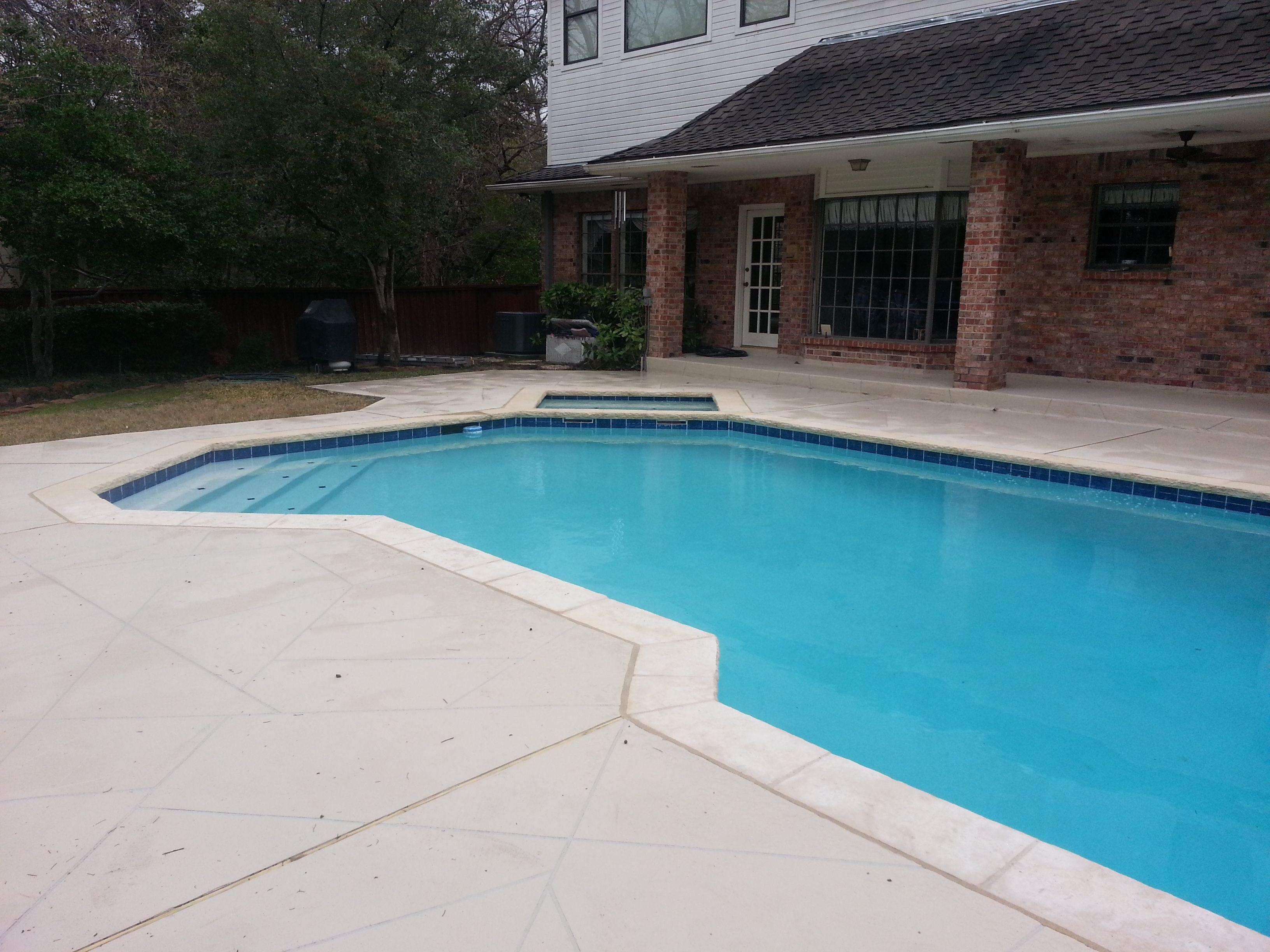Swimming Pool Spray Deck : Astin cream coping super blue diamond brite plaster spray