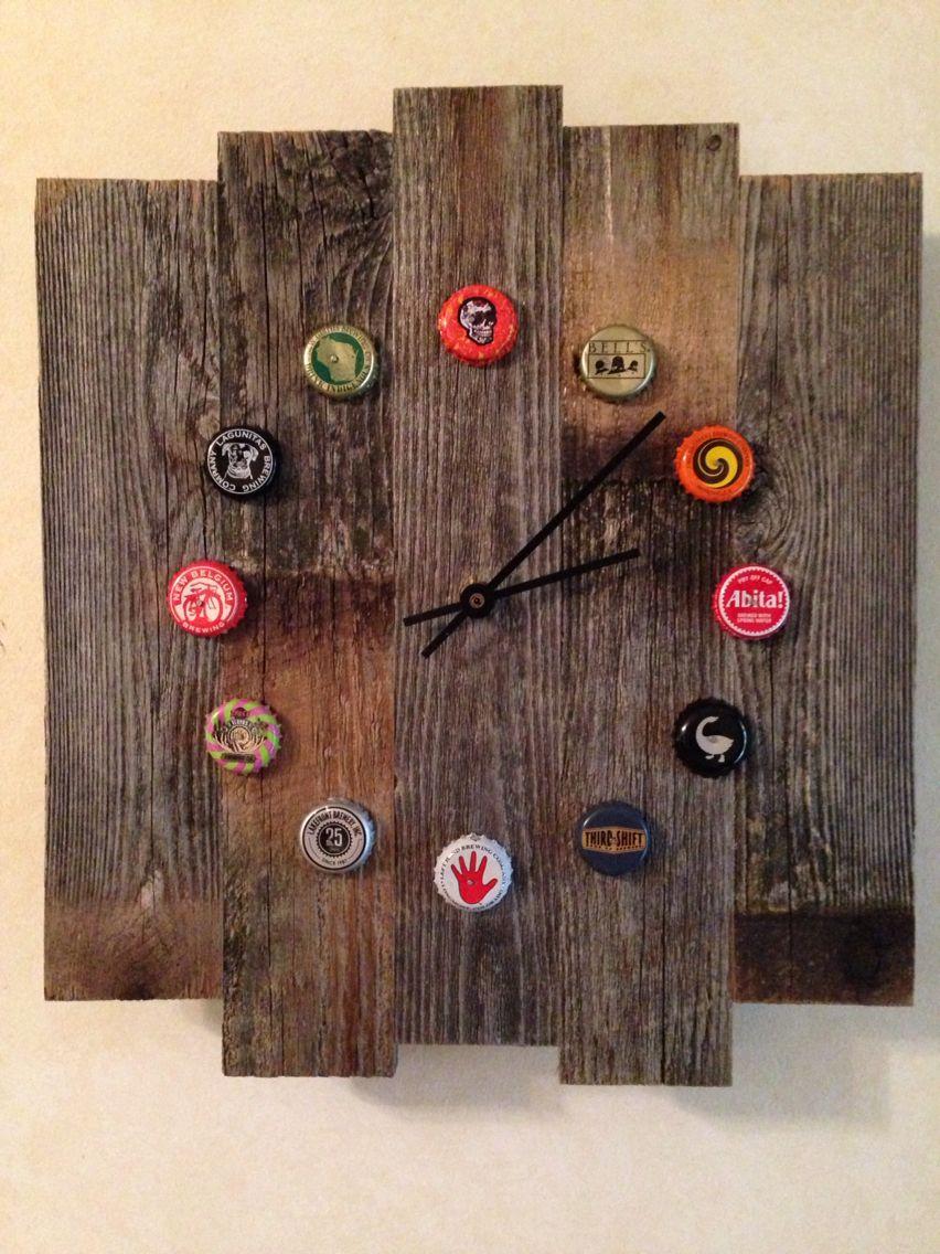 Rustic Wood Beer Cap Clock Buy It On Ebay Search By Description
