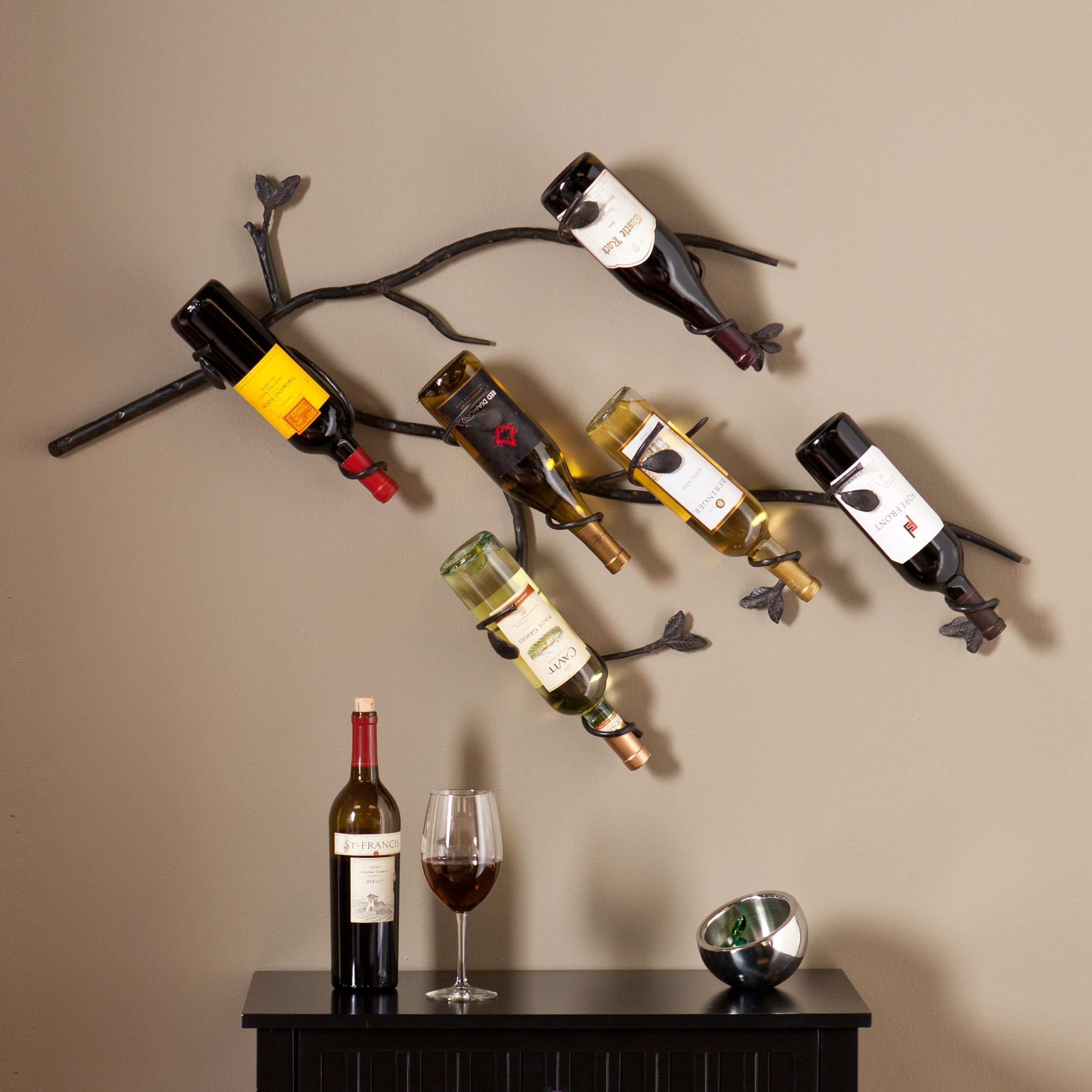 hanging ah racks sequeira wine world decor also warm menagerie state gray winerack rack phantasy mount about with images bottle plus mounted on iron wall
