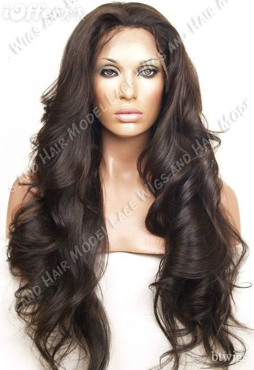 18inch Brazilian Human Remy Hair Lace Front wig curly wave color 2 ... cf1912728