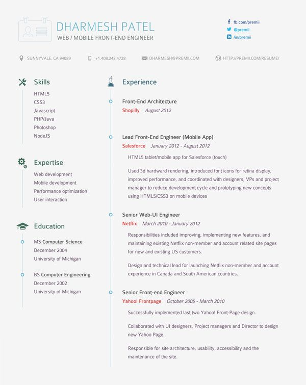 Dharmesh Patel A Pinterest Cv resume template, Editorial - technical lead resume