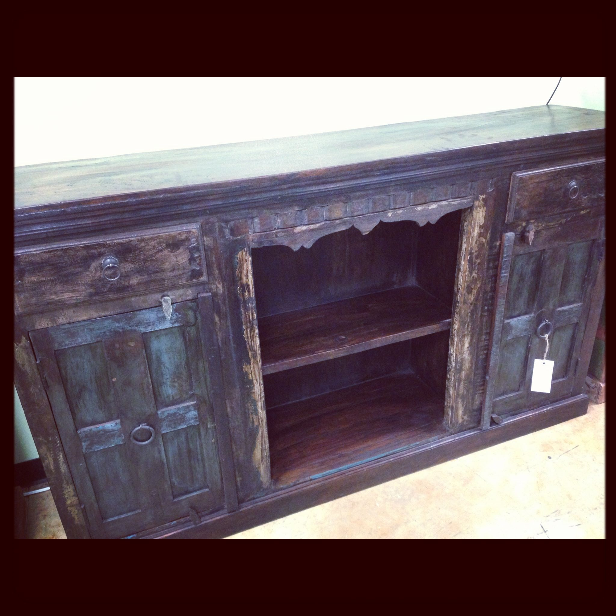 Reclaimed Wood Media Console Cabinet / Buffet Distressed Vintage Import  Unique Furniture