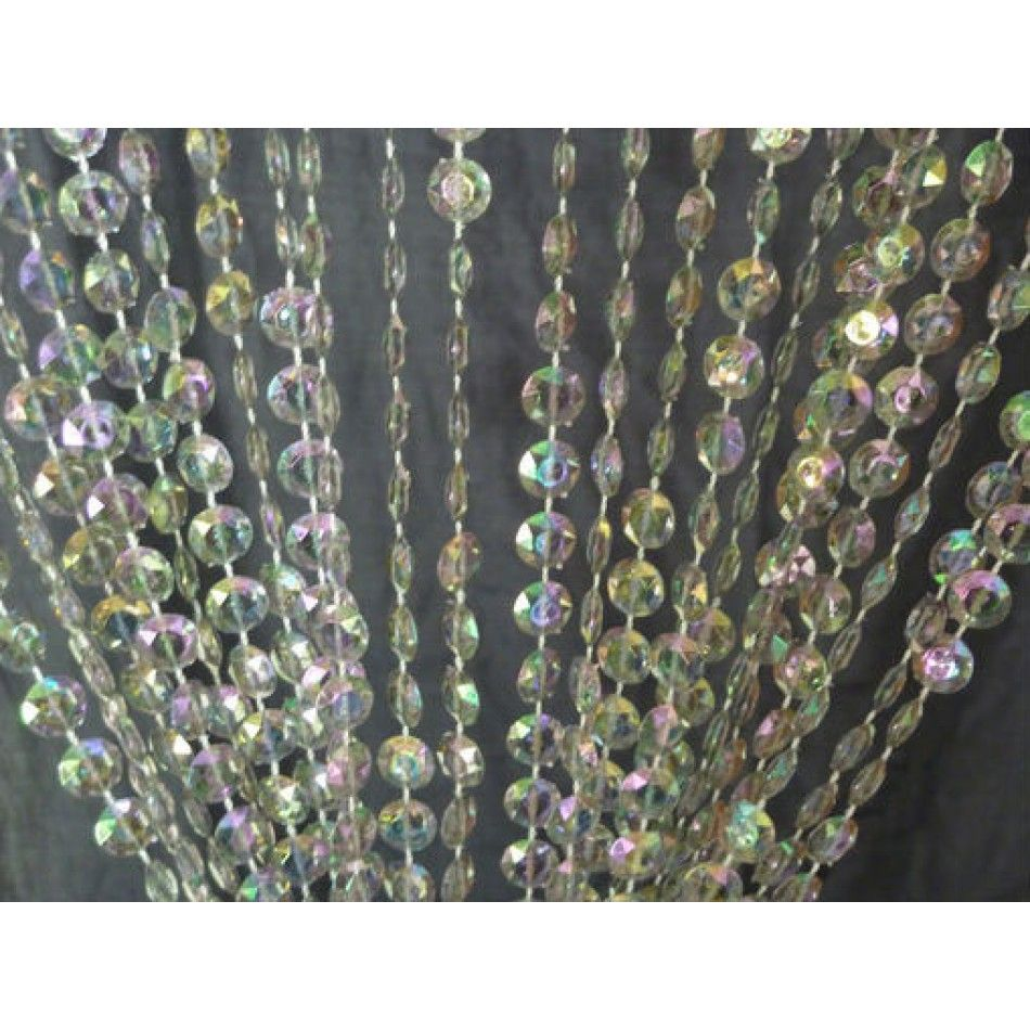 3u0027 X 9u0027 Ft. Beaded Curtain Panels With Bendable Rod   Iridescent Crystal