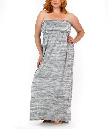 a788f137d5b Loving this Light Gray Space-Dye Strapless Maxi Dress - Plus Too on  zulily!   zulilyfinds