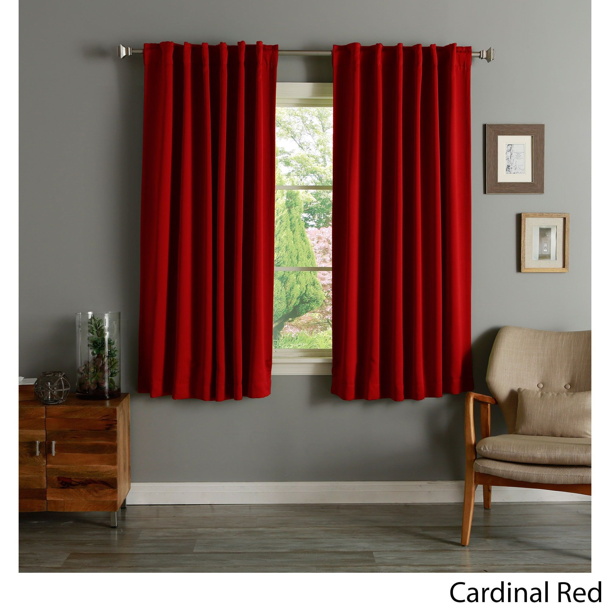 Aurora Home Solid Insulated Thermal 63 Inch Blackout Curtain Panel Pair Cardinal Red