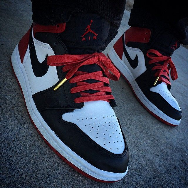 "Air Jordan 1 ""Black Toe"" with Red Wax Laced Up Laces All Wax Laces"